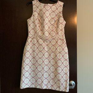 Size 10 Boden Cream & Mauve Sheath Dress